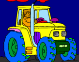 Coloring page Tractor working painted byJESUS
