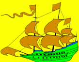 Coloring page 17th century sailing boat painted byJESUS