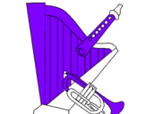 Coloring page Harp, flute and trumpet painted bybryan