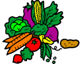 Coloring page vegetables painted byvegetables