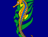 Coloring page Oriental sea horse painted byTyler Ching