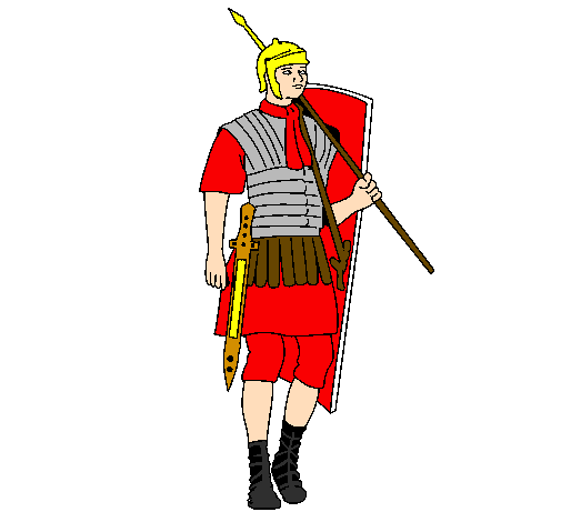 Colored page Roman soldier painted