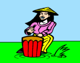 Coloring page Woman playing the bongo painted bypocoio