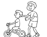 Coloring page Tricycle painted bya