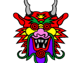 Coloring page Dragon face painted byd