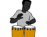 Coloring page Percussionist painted bywagner borges