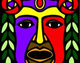Coloring page Maya  Mask painted bymayan mask