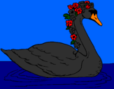 Coloring page Swan with flowers painted byShannen