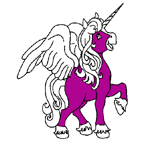 Colored page Unicorn with wings painted by Nat