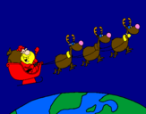 Coloring page Father Christmas delivering presents 3 painted byjordy