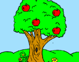 Coloring page Apple tree painted byæble