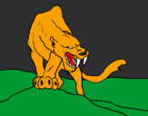 Coloring page Tiger with sharp fangs painted byjulie 3.A
