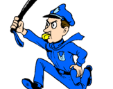 Coloring page Police officer running painted bymanan