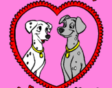 Coloring page Dalmatians in love painted bymarla