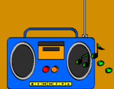 Coloring page Radio cassette 2 painted bykelan