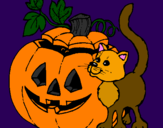 Coloring page Pumpkin and cat painted bymariana