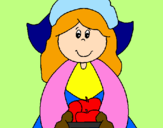 Coloring page Pilgrim girl painted byguillermito
