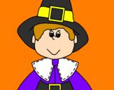 Coloring page Pilgrim boy painted byaa