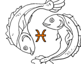 Coloring page Pisces painted byo