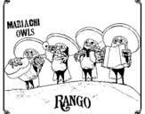 Coloring page Mariachi Owls painted bySamiah