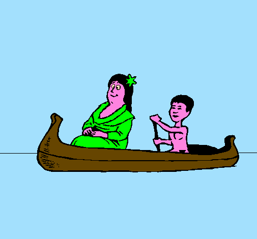 Mother and daughter in a canoe