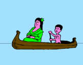Coloring page Mother and daughter in a canoe painted byAna