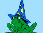Coloring page Magician turned into a frog painted byAna