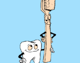 Coloring page Tooth and toothbrush painted byAna