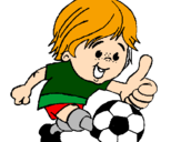 Coloring page Boy playing football painted byJUAN
