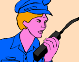 Coloring page Police officer with walkie-talkie painted byAna