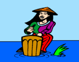 Coloring page Woman playing the bongo painted byfhugjgufjivgjivurtigh hit