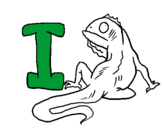 Coloring page Iguana painted byc
