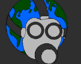 Coloring page Earth with gas mask painted byXD