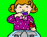 Coloring page Little girl brushing her teeth painted bylinda10