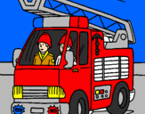 Coloring page Fire engine painted byLeah