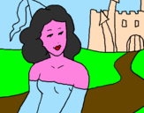 Coloring page Princess and castle painted byAna