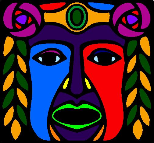 colored page maya mask painted by lela