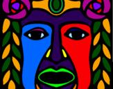 Coloring page Maya  Mask painted bylela