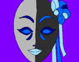 Coloring page Italian mask painted bylela