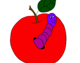 Coloring page Apple with worm painted byapple