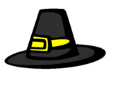 Coloring page Pilgrim hat painted bysombrero