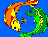 Coloring page Pisces painted bylela