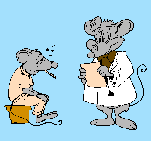 Colored page Doctor and mouse patient painted by Ana