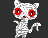 Coloring page Doodle the cat mummy painted bysebastian y victor