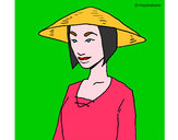 Coloring page Chinese woman painted bycookie