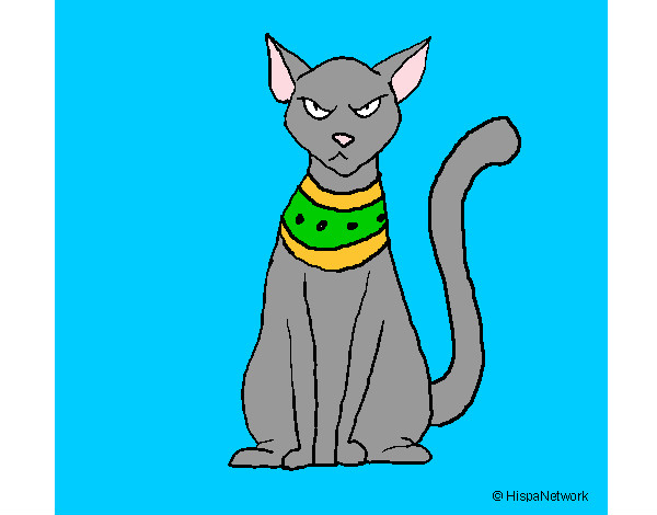 Coloring page Egyptian cat painted bymarinaf