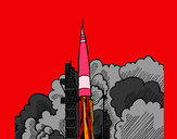 Coloring page Rocket launch painted byLela