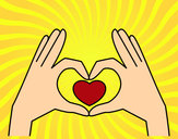 Coloring page Heart with hands painted bykevin