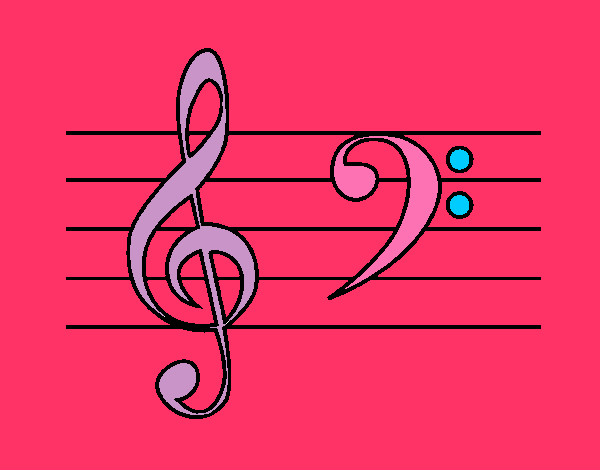 Coloring page Treble and bass clefs painted byaliana