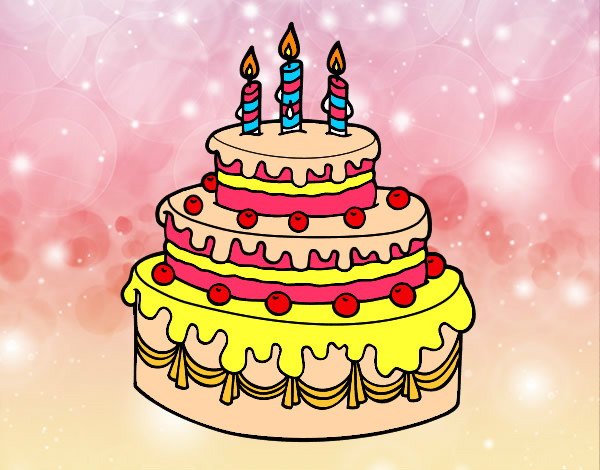 Coloring page Birthday fruit tart painted byausrine